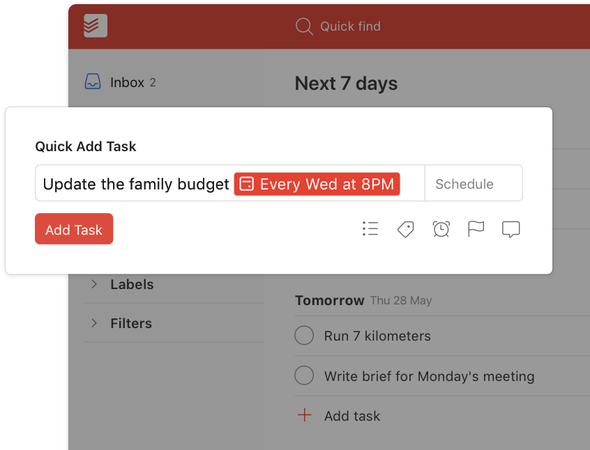 todoist recurring due dates user interface